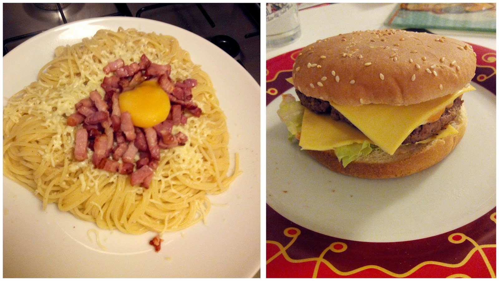 spaghettis, burger, bullelodie