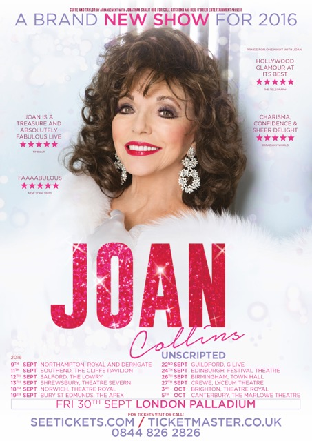 JOAN COLLINS UNSCRIPTED - UK TOUR 2016