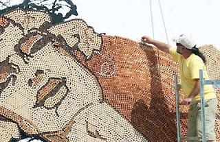 Mosaico em rolhas de cortiça