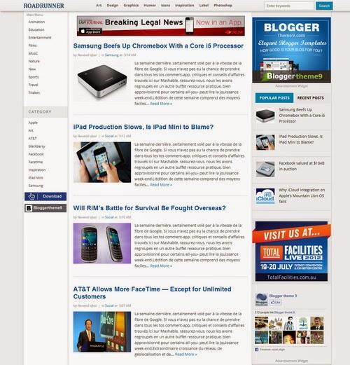 RoadRunner Template Blogspot tin tức đẹp năm 2014
