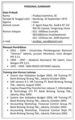 Contoh Curriculum Vitae (CV) Secara Umum