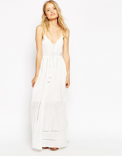 white broderie maxi dress, white tassel maxi dress,