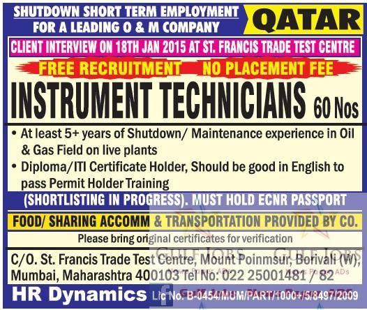 Shutdown jobs for o & m company Qatar free recruitment - Gulf Jobs ...