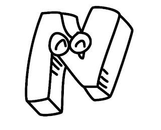 Alfabeto para colorir - Letra N colorir