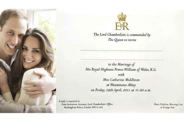 Invitacion para la Boda Real Britanica – Principe Guillermo y Kate Middleton