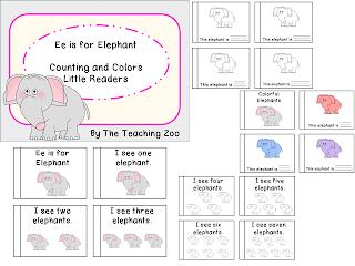 http://www.teacherspayteachers.com/Product/Ee-Letter-of-the-Week-Readers-E-e-is-for-Elephant-1011655
