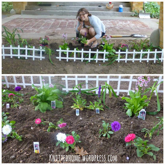 Annie planting her Mom's new flower garden 2013  |  knittedhome.wordpress.com