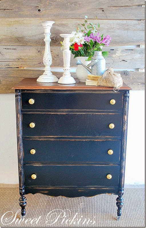 Navy Blue Distressed Dresser