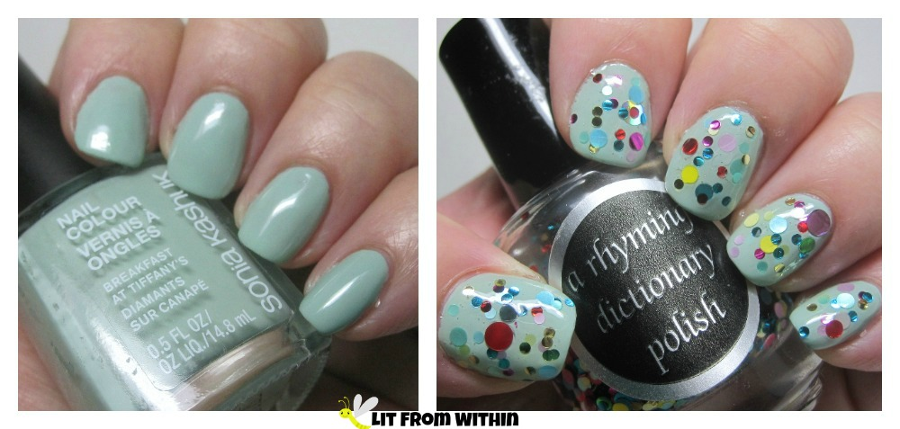 Sonia Kashuk Breakfast At Tiffany's, a cool, shiny mint under A Rhyming Dictionary Polish Lots of Tiny Snowmen, a glitter bomb of multi-colored circle glitter!