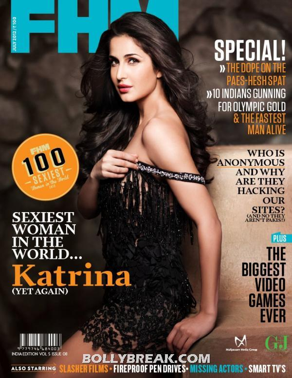 Katrina kaif on fhm in black lace sexy dress -  Katrina Kaif FHM india cover