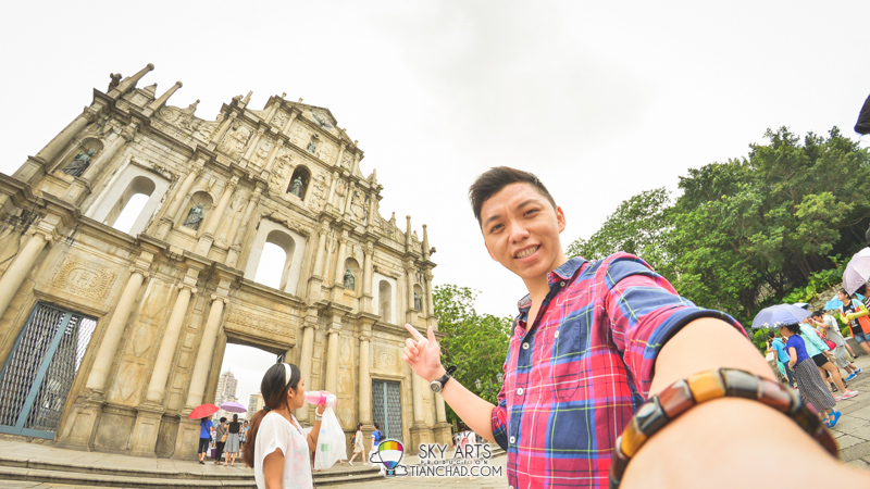 A selfie with the only wall left at Ruins of St. Paul's Cathedral