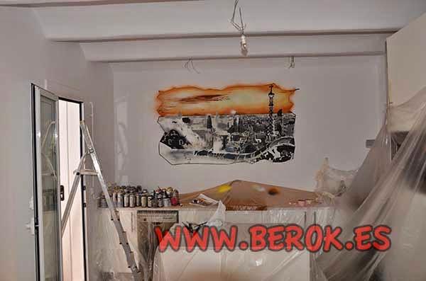Decoración pintura mural ciudad de Barcelona en proceso