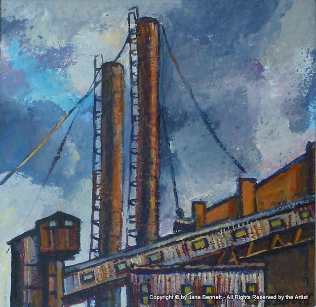 watercolour and ink painting of  White Bay Power Station by artist Jane Bennett