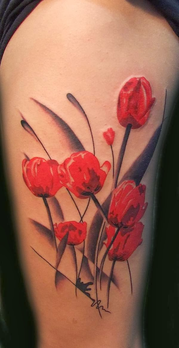 One of the most popular flowers in Europe in 17th century. Red tulip symbolizes true love.