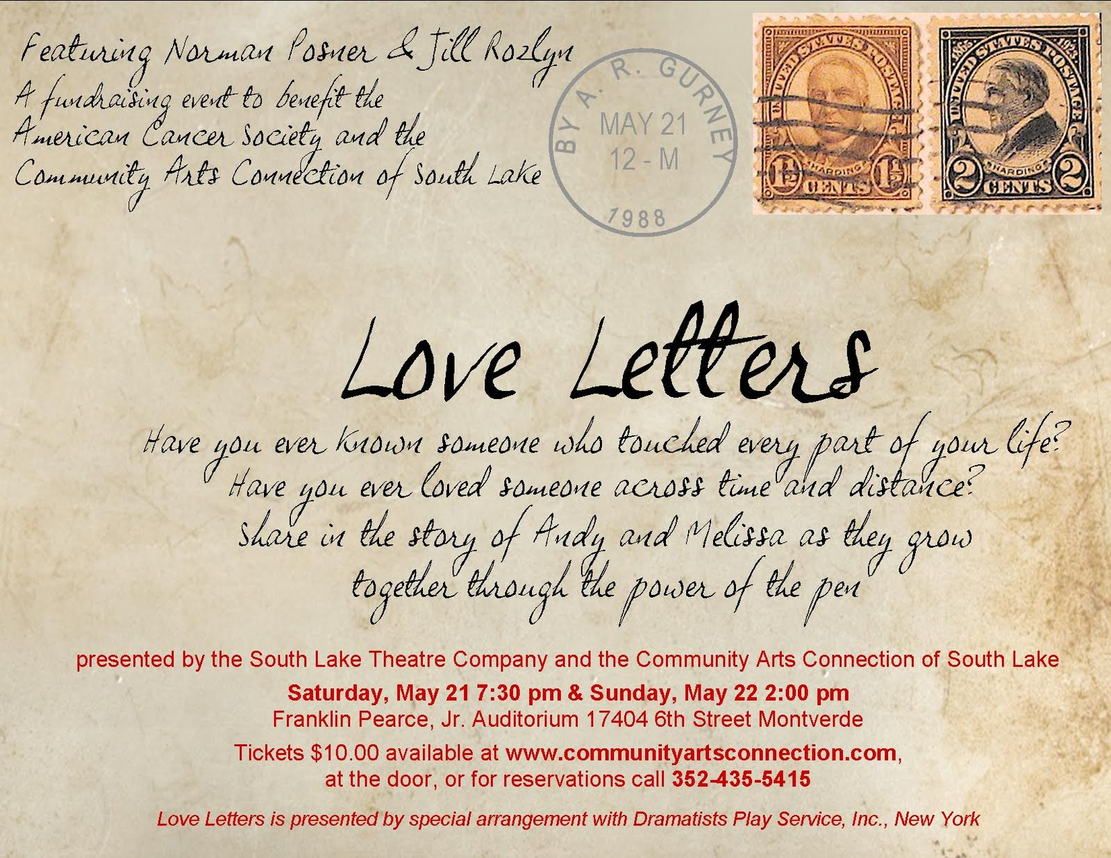 come check out cacs newest production ar gurneys critically acclaimed show love letters this unique touching play is about a man and womans life
