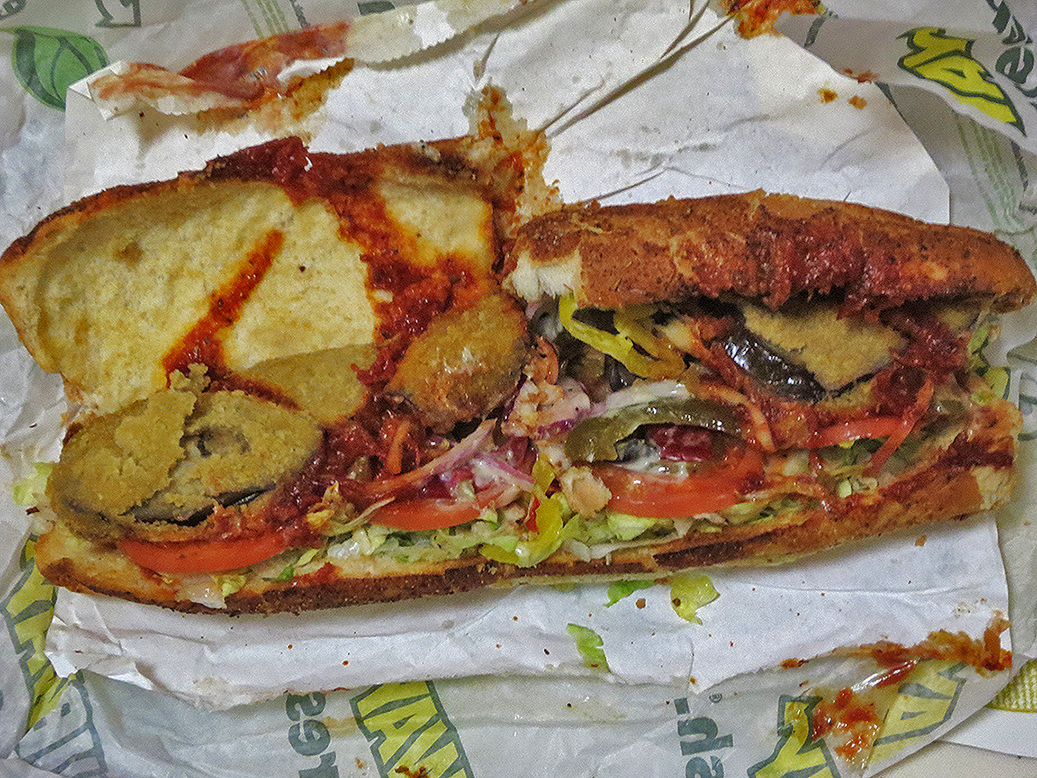 the shit i eat 500 eggplant parmesan sandwich from subway
