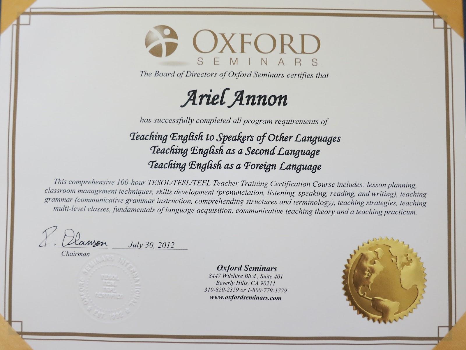 Tefl Tesol Certification Ace Promo