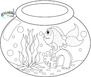 goldfish in bowl coloring pages