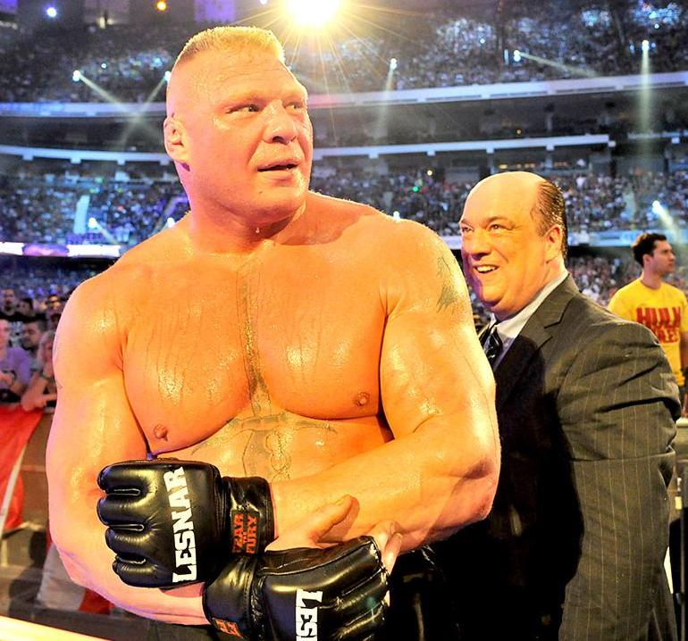 Brock lesnar tras destruir la racha de victorias del hombre muerto en wrestlemania