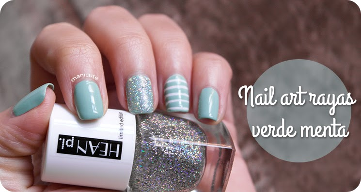nail art rayas blancas verde menta