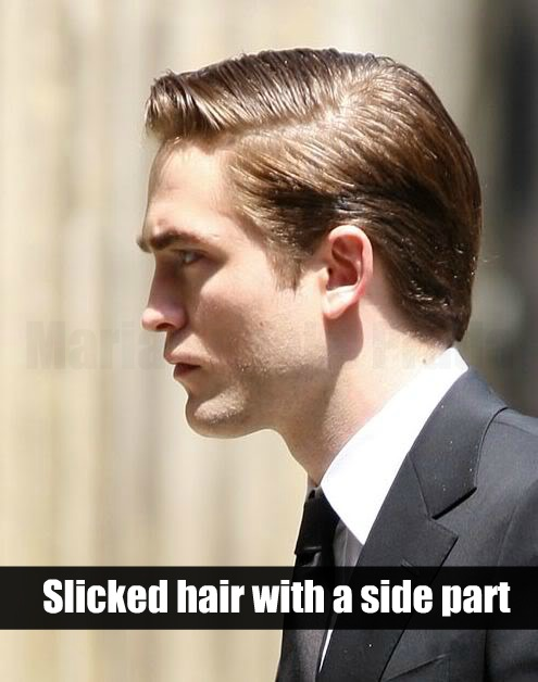 Robert Pattinson slick hair with a side part In Cosmopolis Movie.