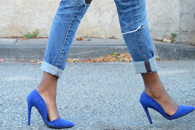 blog mode afro, blog mode marseille, look, jean déchiré, escarpins pointus bleus