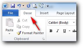 Nama tab telah berubah di ms word 2010