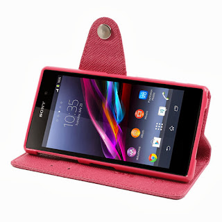 Leather Case Wallet Stand with Card Slot for Sony Xperia Z1 Honami C6906 C6903 C6902 C6943 L39h - Magenta
