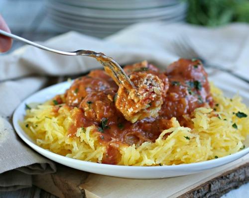 Spaghetti Squash with Chicken Meatballs