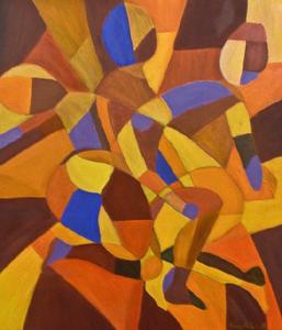 Una abstracción cubista de Elizabeth Pasos como imagen para ilustrar el sueño De aquí para allá