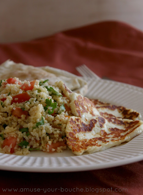 Quick tabbouleh salad with grilled halloumi recipe