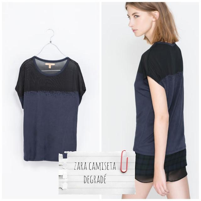 Zara - Camiseta degradé azul marino/negro - €17,95