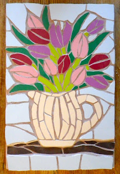 Mosaic jug of tulips