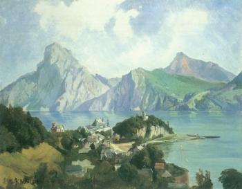 Edmund Kanoldt: Der Traunsee im Salzkammergut, um 1879
