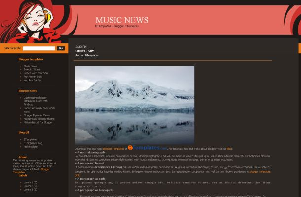 Free Music News Magazine Jquery Blogger Template