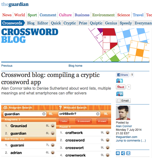 Screen shot of The Guardian Crossword Blog