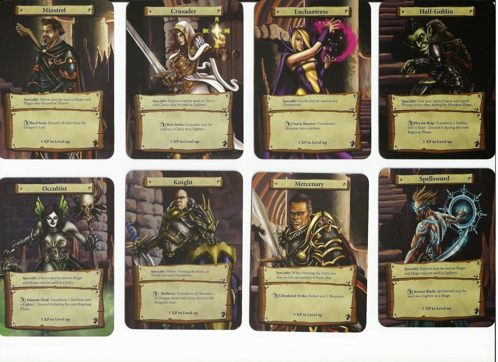 Dungeon Roll Hero Cards Fronts