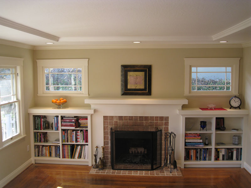 Brilliant Mantel Shelf In Family Room Rustic With Fireplace With Bookcases Next