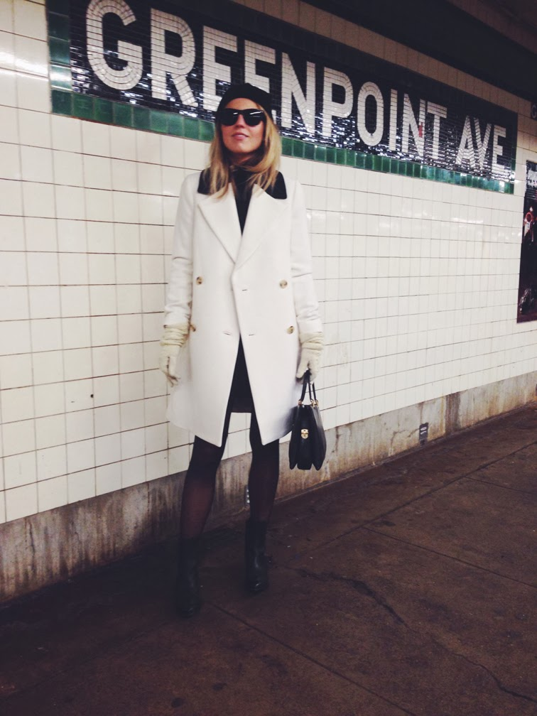 NYC subway vintage leather bag sheer nylons black & white