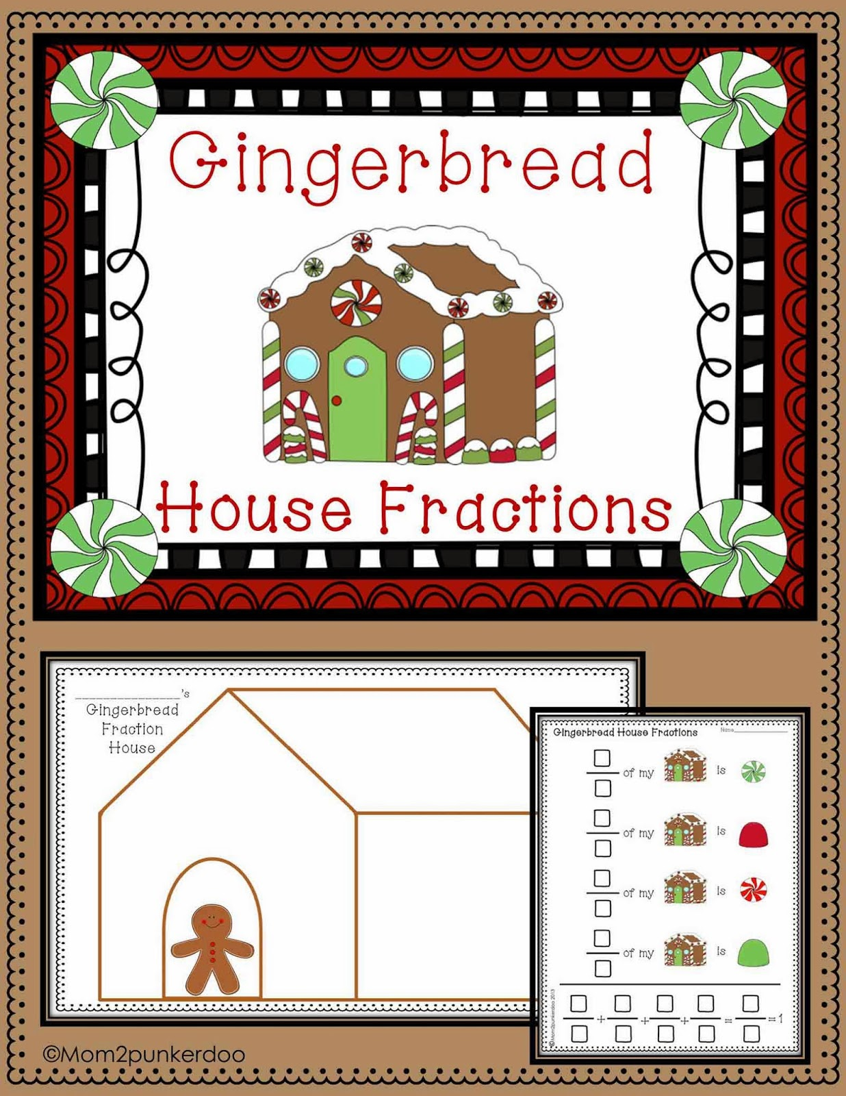 gingerbread house math lesson with fractions