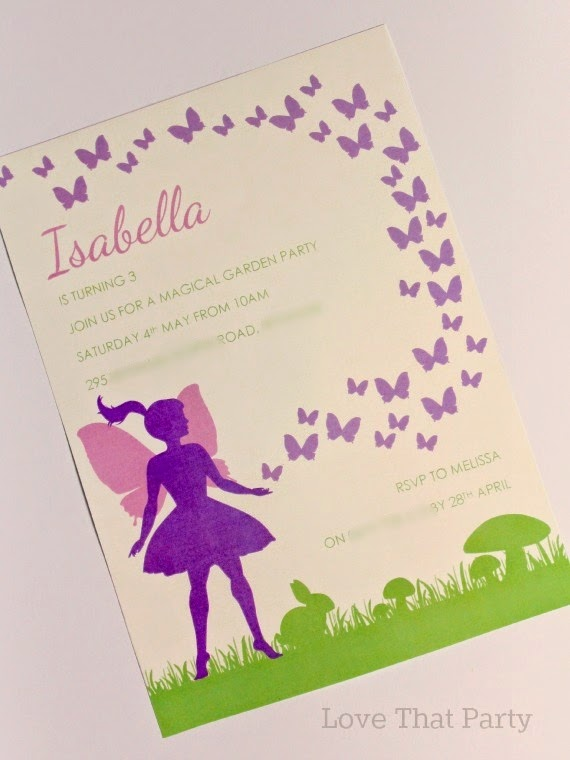 fairy birthday party invitation, diy, printable, digital, butterfly, mushroom, grass, bunny, purple, pink, mauve, lilac
