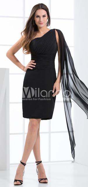 Gaine Noir Longueur genou une épaule en mousseline de soie robe de soirée Retrouvailles