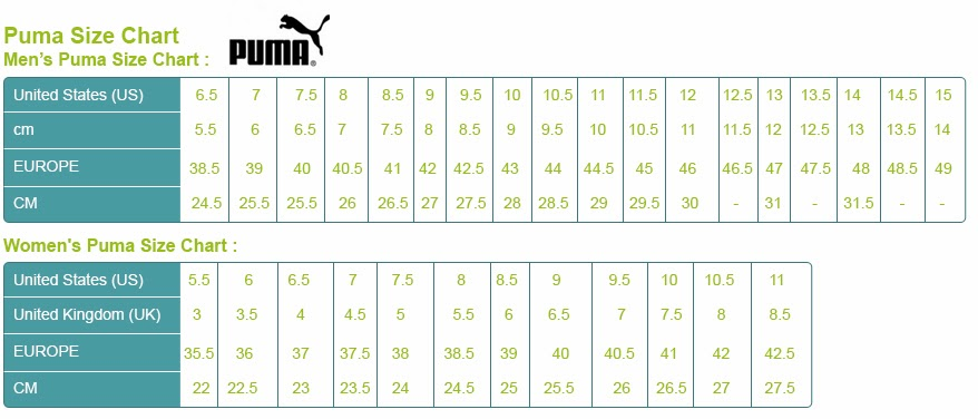 puma shoes youth size chart