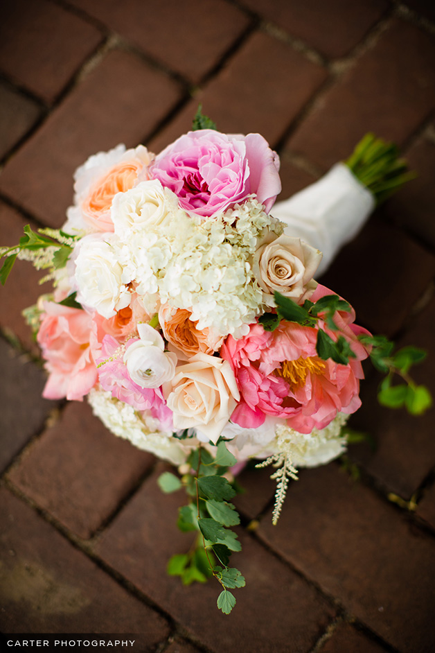 the bouquets featured coral charm peonies ranunculus lacey hydrangea garden roses sahara roses astilbe stock and more so lush and lovely
