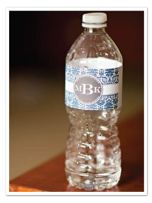 Ready made water bottle label wat018 printable diy damask water bottle