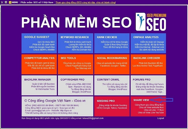 Giao diện phần mềm seo iSEO