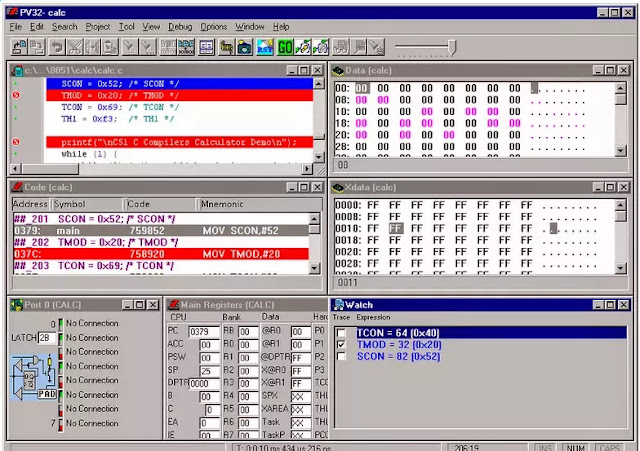 C programming software ProView 32 in debugging mode