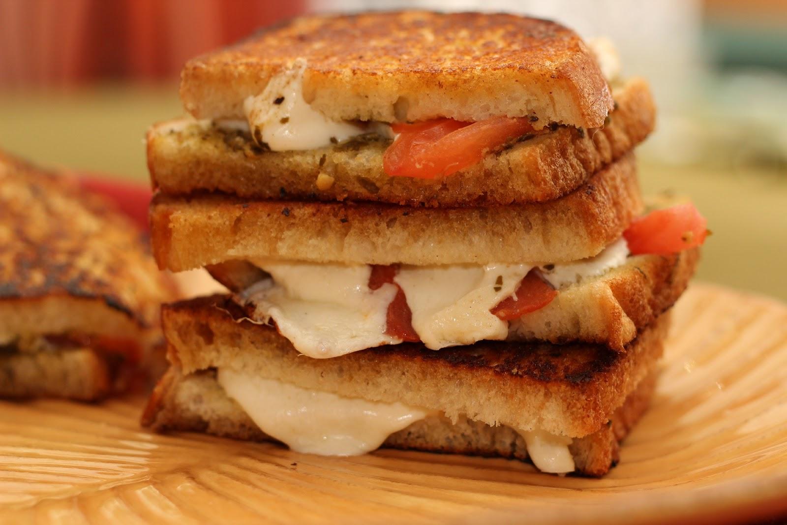 Lisa's Dish Diary: Grilled Mozzarella Cheese Sandwich w/pesto & tomato