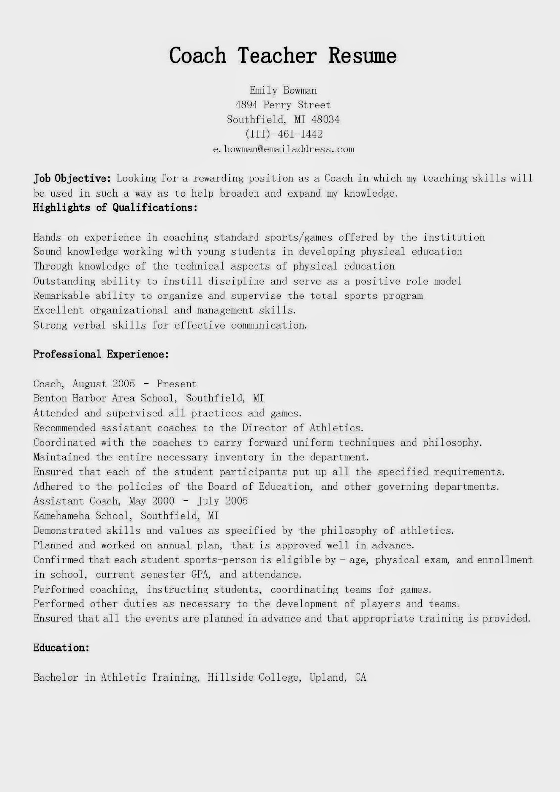 resume samples  coach teacher resume sample