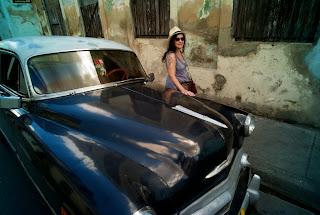 Santiago de Cuba vintage car and Kat